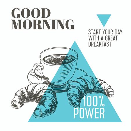 ベクトルの背景。手には、朝食の図のスケッチが描かれました。  イラスト・ベクター素材