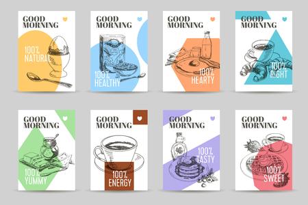 vector dibujado a mano banderas desayuno bosquejo establecidos. alimentos ecológicos. Ilustración del vector. Copos de maíz, galletas, café, croissant, pan.