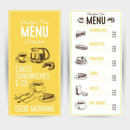 Vector hand drawn breakfast illustration. Restaurant menu. Sketch Ilustração