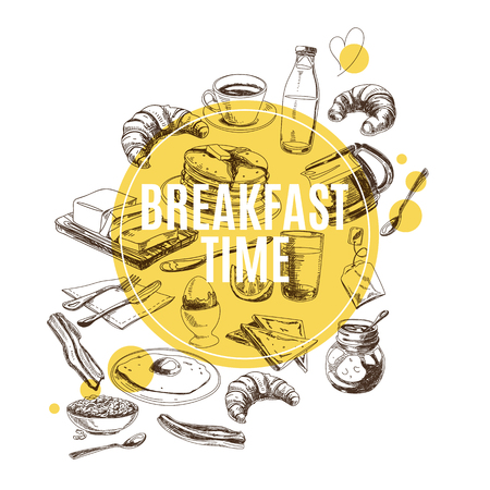Vector background. Hand drawn breakfast illustration. Sketch