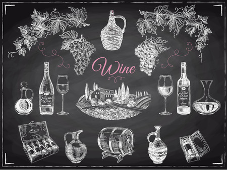 vector dibujado a mano set de vino. ilustración vino. pizarra Ilustración de vector