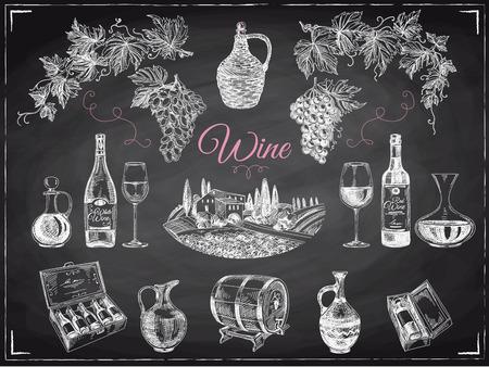 Vettore disegnato a mano set vino. illustrazione del vino. Lavagna Vettoriali