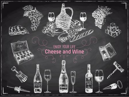 ベクトル手描きワイン セットです。ワインのイラスト。黒板