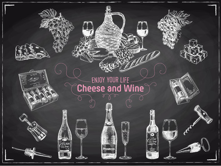 wine and food: Vector hand drawn  wine set. Wine illustration. Chalkboard