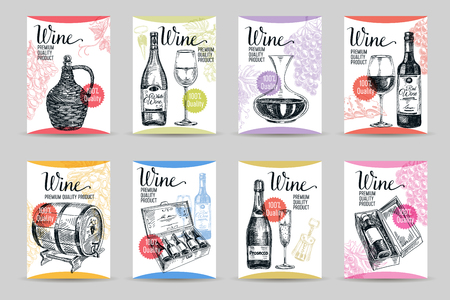Vector wine background. Winery vintage illustration. Cards set