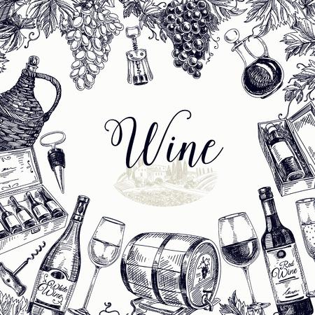 ロゴベクトルの手には、ワインの背景が描画されます。ワインのイラスト。