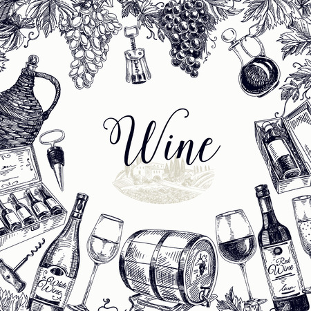 Vector hand drawn  wine background. Wine illustration.