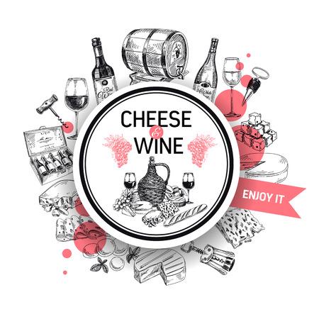 手でベクトルの背景には、ボトルのワイン、チーズ、ワイン樽、ワイングラスが描画されます。ワイナリーの図。テンプレート デザイン。