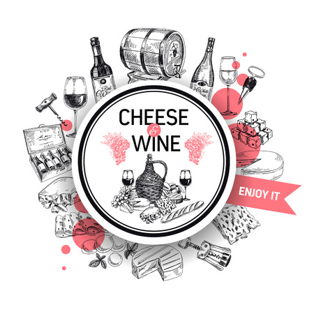 Vector background with hand drawn wine bottle, cheese, wine cask and wineglass. Winery illustration. Template design.