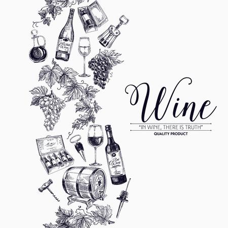 手でベクトルの背景には、ワインボトル、ワイン樽、ワイングラスが描画されます。ワイナリーの図。テンプレート デザイン。境界線。背景の繰り