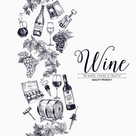 Vector background with hand drawn wine bottle, wine cask and wineglass. Winery illustration. Template design. Border. Repeating background. Vettoriali