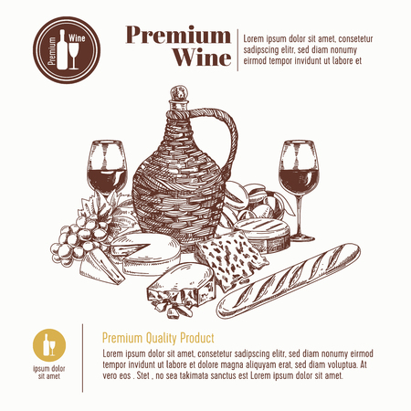 bread and wine: Vector background with hand drawn wine bottle, cheese, bread and wineglass. Winery illustration. Template design.