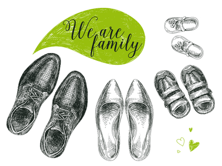 Vector hand drawn illustration with family shoes. Sketch.