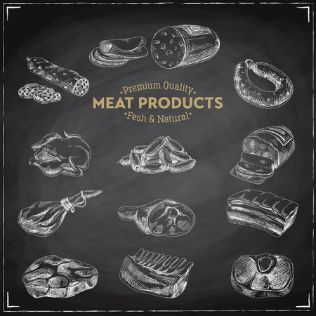 Vector hand drawn Illustration with meat products. Sketch. Vintage style. Retro background. Chalkboard