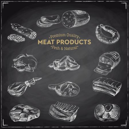 Vector hand getrokken Illustratie met vleesproducten. Schetsen. Vintage-stijl. Retro achtergrond. Schoolbord