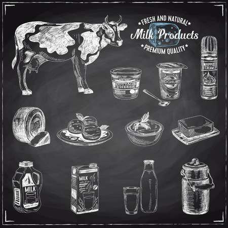 Vector hand drawn Illustration with milk products. Sketch. Vintage style. Retro background. Chalkboard