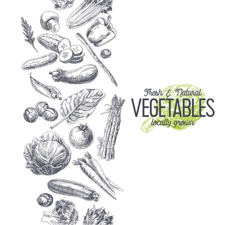 Vector disegnato a mano Illustrazione fattoria mercato. Stile vintage. Retro sfondo alimenti biologici. Localmente cresciuto abbozzo Vettoriali