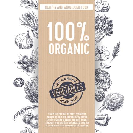 Vector illustration de marché agricole dessinés à la main. Style vintage. Fond rétro de nourriture organique. Croquis local
