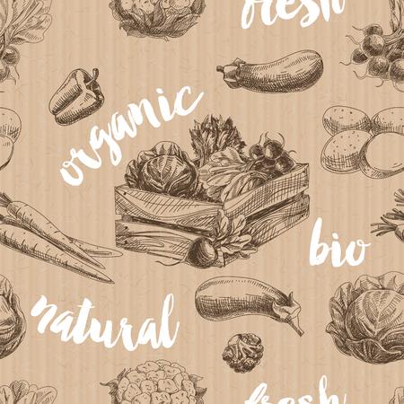 verduras verdes: Vector vegetables retro seamless pattern. Vintage Illustration. Organic food sketch