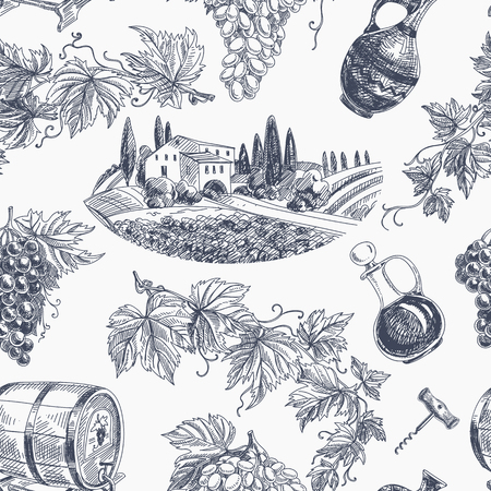 drawing: Vector wine retro seamless pattern. Vintage style. Winery repeating background