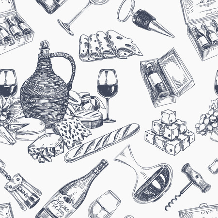 food illustration: Vector wine retro seamless pattern. Vintage style. Winery repeating retro background