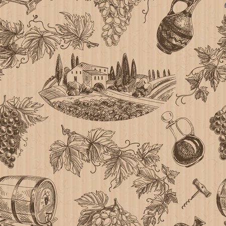Vector wine retro seamless pattern. Vintage style. Winery repeating retro background