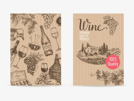 Vector hand drawn wine Illustration. Sketch. Vintage style. Retro background. Winery template design