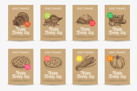 Vector hand drawn thanksgiving cards set. Vintage style illustration. Retro food background. Sketch. Template design.