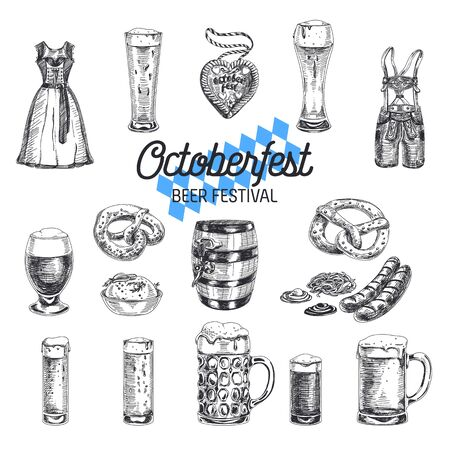 Octoberfest vector set. Beer products. Illustrations in sketch style. Hand drawn design elements. 矢量图片