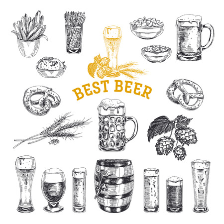Octoberfest 벡터 집합입니다. 맥주 제품 스케치 스타일의 삽화입니다. 손으로 그린 된 디자인 요소입니다. 일러스트