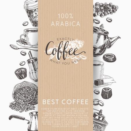 コーヒーのベクトルを設定します。スケッチ スタイルのイラスト。手描きデザイン要素です。