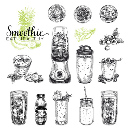 a straw: Smoothie vector set. Healthy foods illustrations in sketch style. Hand drawn design elements.