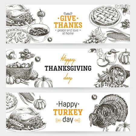ベクトル手描き感謝祭バナー セットです。ビンテージ スタイルの図。レトロな食品の背景。スケッチ