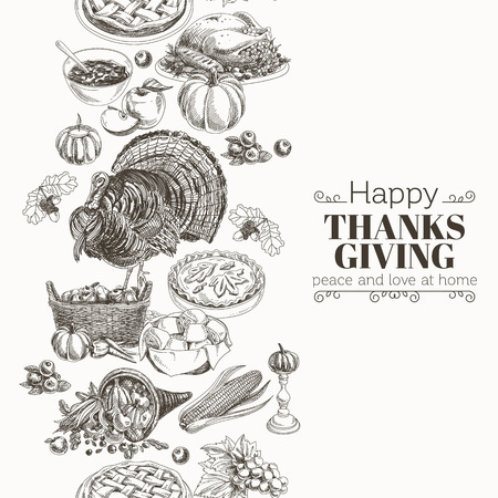 Vector hand drawn thanksgiving Illustration. Vintage style. Border. Repeating background. Sketch
