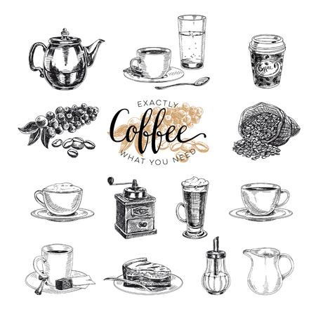 Vector handgetekende koffieset. Schets afbeelding