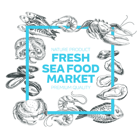 Vector hand drawn sea food Illustration. Vintage style. Retro food background. Sketch Ilustração