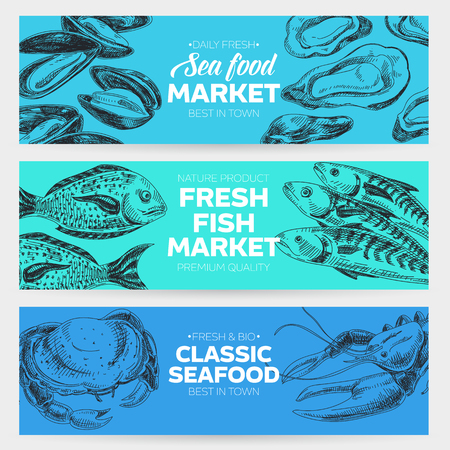 Vector hand drawn sea food banners set. Vintage style. Retro food background. Sketch