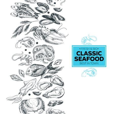 ベクトルは、食品イラスト描かれた海を手します。ビンテージ スタイルです。レトロな食品の背景。スケッチ
