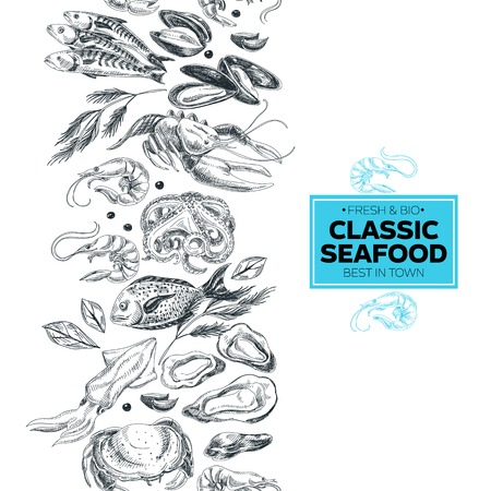 Vector hand drawn sea food Illustration. Vintage style. Retro food background. Sketch Vectores
