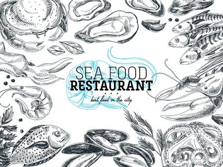 Vector hand drawn sea food Illustration. Vintage style. Retro food background. Sketch