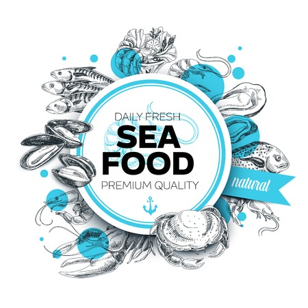 Vector hand drawn sea food Illustration. Vintage style. Retro food background. Sketch Vettoriali