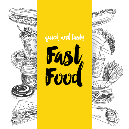 Vector hand drawn fast food Illustration. Vintage style. Retro food background. Stock Vector - 73354410