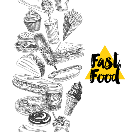 Vector hand drawn fast food Illustration. Seamless border. Vintage style sketch background.