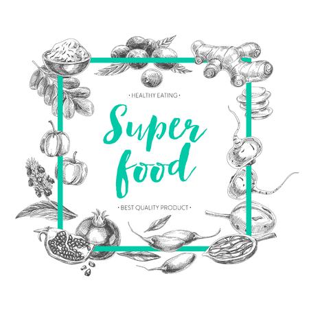 Vector hand drawn superfood Illustration. Sketch vintage style. Design template.