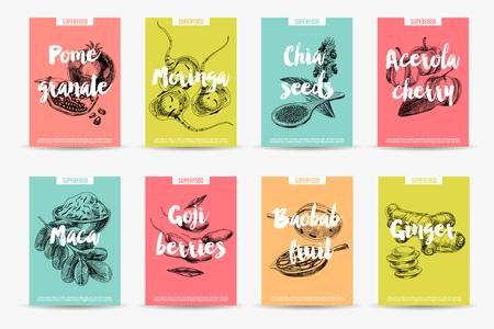 Set de cartes de superfood dessinés à la main Vector. Croquis de style vintage. Collection d'affiches. Modèle de conception.