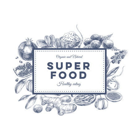 antioxidant: Vector hand drawn superfood Illustration. Sketch vintage style. Design template.