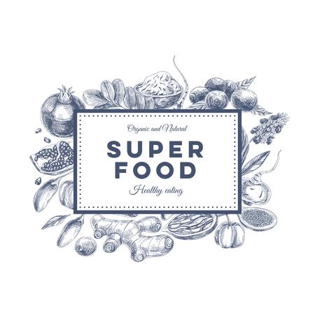 antioxidants: Vector hand drawn superfood Illustration. Sketch vintage style. Design template.