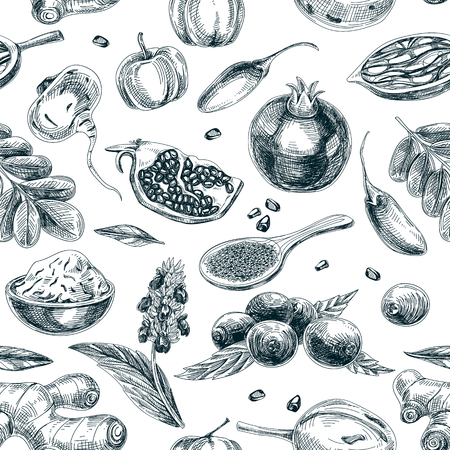 Vector hand drawn superfood seamless pattern. Sketch vintage style. Design template. Repeating background.