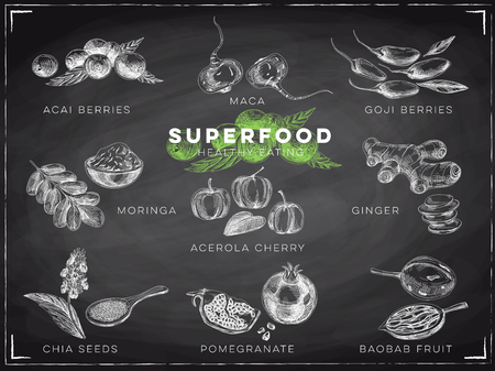 Vector hand drawn superfood Illustrations set with acai and goji berries, maca, moringa, ginger, chia seeds, pomegranate, baobab fruit. Sketch vintage style. Chalkboard esign template.