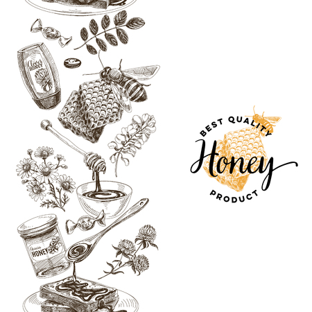 Vector hand drawn honey Illustration. Sketch vintage style. Design template. Retro background.